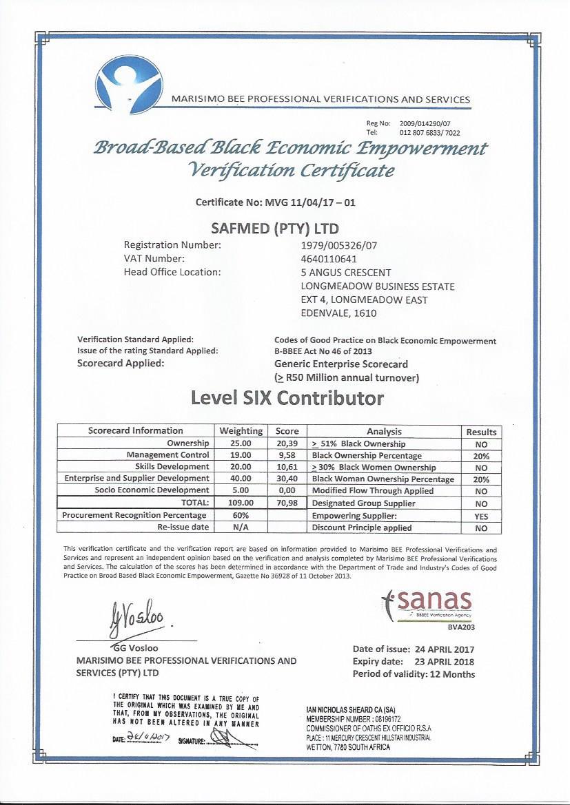 SafMed BBBEE 2017 Certificate